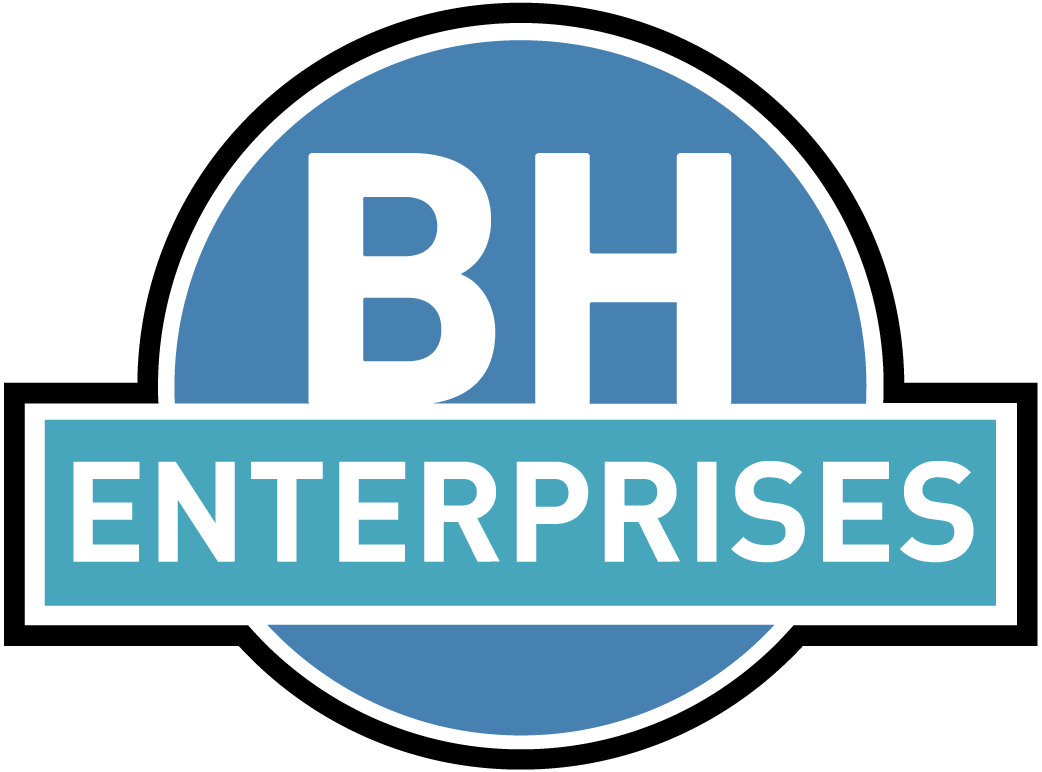 BH Enterprises Logo inside a big blue circle with an overlaying rectangle